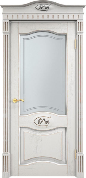 Дверь из массива дуба ПМЦ Д3 ПО f120 патина серебро