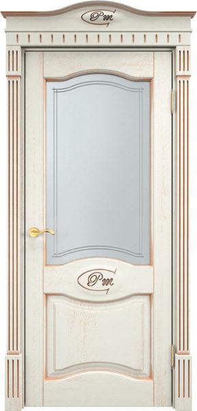 Дверь из массива дуба ПМЦ Д3 ПО f120 патина золото