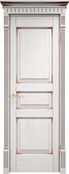 Дверь из массива дуба ПМЦ Д5 белый грунт патина орех