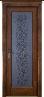 Дверь из массива ольхи Витраж ОКА орех