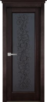 Дверь из массива ольхи Витраж ОКА венге