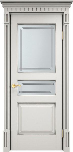 Дверь из массива ольхи Ол5 ПО белый грунт патина микрано