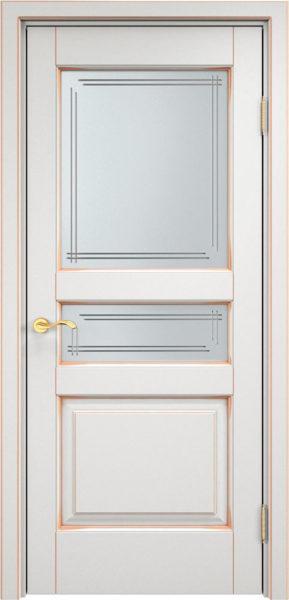 Дверь из массива ольхи Ол5 ПО белый грунт патина золото
