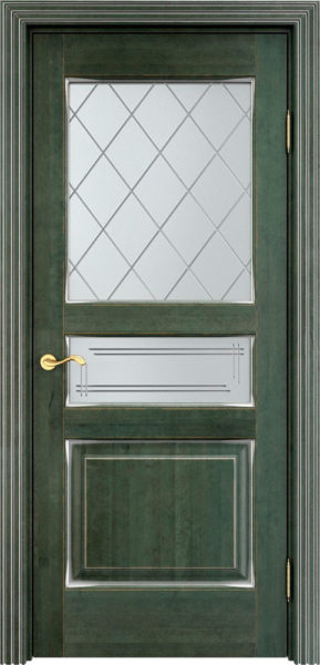 Дверь из массива ольхи Ол5 ПО малахит патина микрано