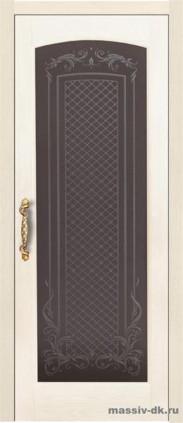 Дверь из массива сосны Витраж слоновая кость