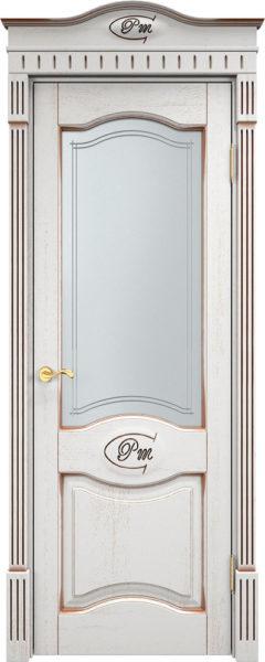 Дверь из массива дуба Д3 ПО белый грунт патина орех