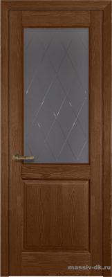 Дверь из массива сосны Элегия стекло орех