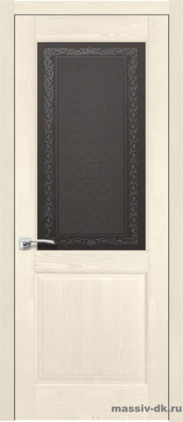 Дверь из массива сосны Элегия стекло слоновая кость