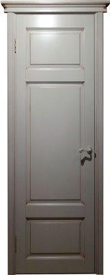 Дверь из массива ольхи Ол55 белый грунт патина орех