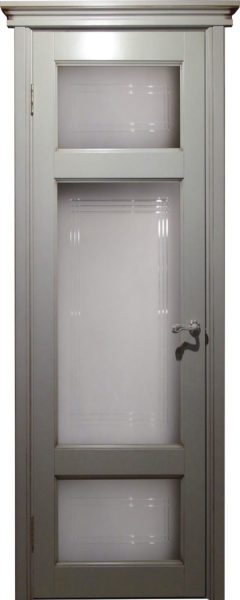 Дверь из массива ольхи Ол55 ПО белый грунт патина орех