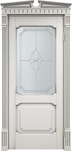 Дверь из массива ольхи Ол7 ПО белый грунт патина микрано