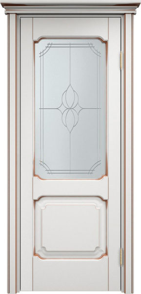 Дверь из массива ольхи Ол7 ПО белый грунт патина орех