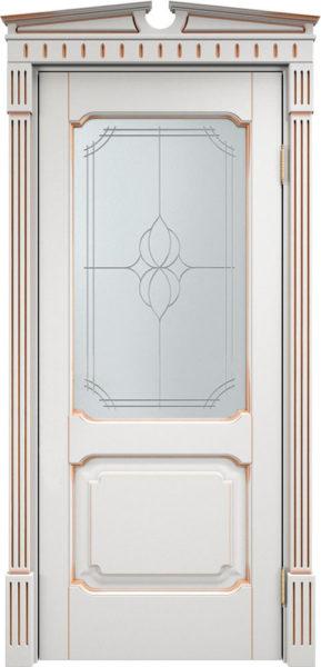 Дверь из массива ольхи Ол7 ПО белый грунт патина золото
