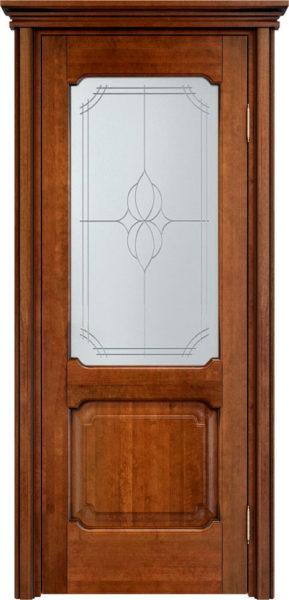 Дверь из массива ольхи Ол7 ПО коньяк патина