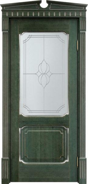 Дверь из массива ольхи Ол7 ПО малахит патина микрано