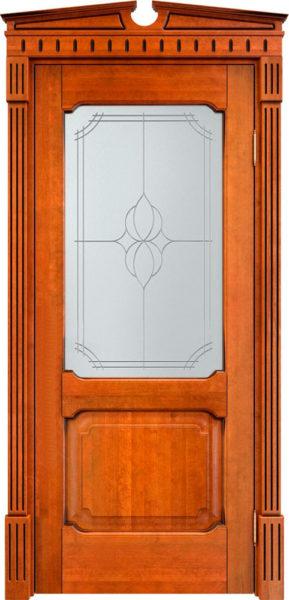 Дверь из массива ольхи Ол7 ПО медовый патина