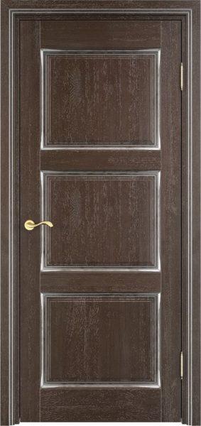 Дверь из массива дуба Д117-3 моренный дуб патина серебро