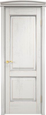 Дверь из массива дуба ПМЦ Д13 белый грунт патина серебро