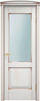 Дверь из массива дуба Д13 ПО белый грунт патина серебро