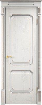 Дверь из массива дуба Д7-2 белый грунт патина серебро