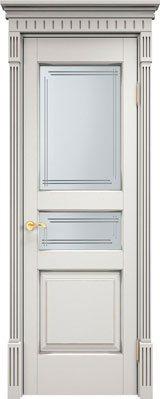 Дверь из массива ольхи Ол5 белый грунт патина микрано