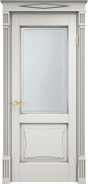 Дверь из массива ольхи Ол6-2 ПО белый грунт патина микрано