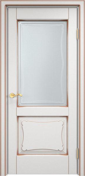 Дверь из массива ольхи Ол6-2 ПО белый грунт патина орех
