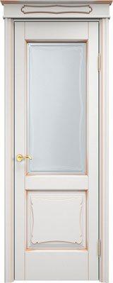 Дверь из массива ольхи Ол6-2 ПО белый грунт патина золото