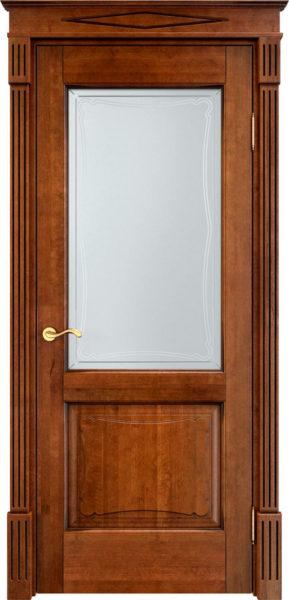 Дверь из массива ольхи Ол6-2 ПО коньяк патина