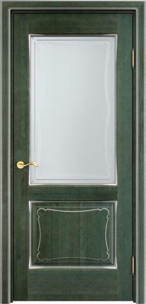 Дверь из массива ольхи Ол6-2 ПО малахит патина микрано
