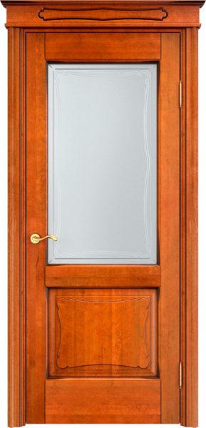 Дверь из массива ольхи Ол6-2 ПО медовый патина