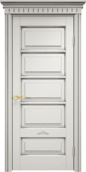 Дверь из массива ольхи Ол44 белый грунт патина микрано
