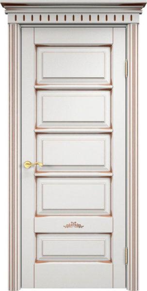 Дверь из массива ольхи Ол44 белый грунт патина орех