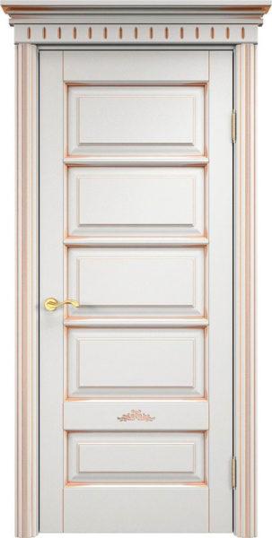 Дверь из массива ольхи Ол44 белый грунт патина золото