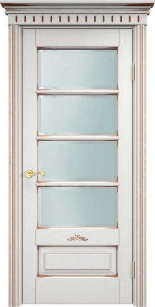 Дверь из массива ольхи Ол44 ПО белый грунт патина орех