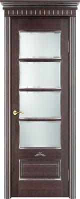 Дверь из массива ольхи Ол44 ПО моренный дуб патина серебро