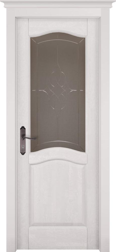 Дверь из массива ольхи Лео ПО белая эмаль