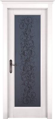 Дверь из массива ольхи Витраж белая эмаль