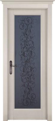 Дверь из массива ольхи Витраж слоновая кость