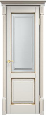 Дверь из массива сосны 112Ш ДОФ ПМЦ слоновая кость патина