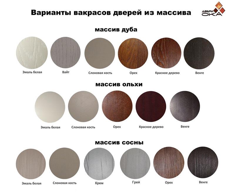 Варианты выкрасов дверей из массива фабрика ОКА