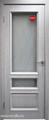 Двери ока массив дуба Аристократ3 цвет вайт