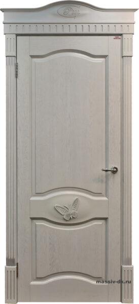 Дверь из массива дуба Д3 белая эмаль патина орех ПМЦ