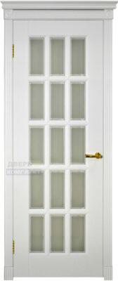 Двери ока массив ольхи Лондон эмаль белая, стекло с фацетом