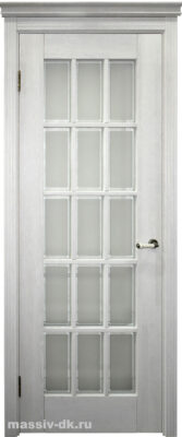 Двери ока массив дуба Британия эмаль белая, стекло с фацетом
