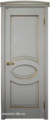Двери ПМЦ массив ольхи Ол26 белый грунт патина золото