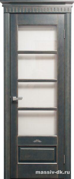 Двери ПМЦ массив ольхи Ол44 зеленый патина серебро