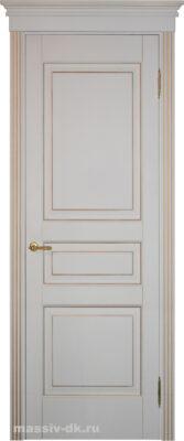 Двери ПМЦ массив ольхи Ол5 белая эмаль патина золото