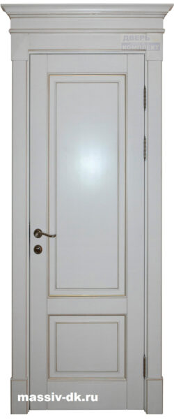 Дверь из массива березы Альта шампань патина золото